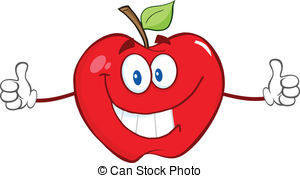 Vector Clipart of Red apple fruit character showing thumb up.