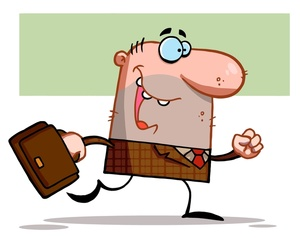 Work clipart image happy worker heading to the office.