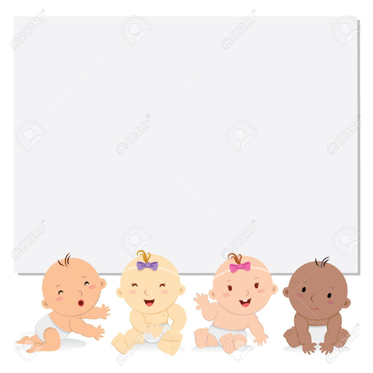 Happy babies with board. Multicultural babies with blank banner..