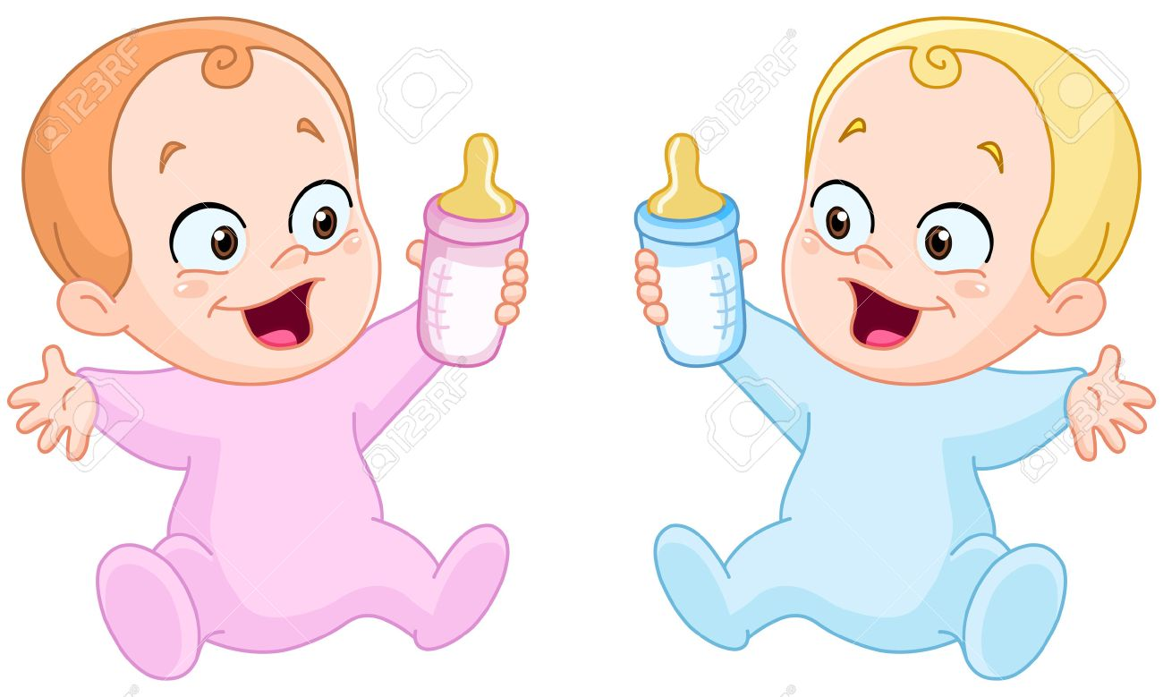 Happy baby girl and baby boy holding bottles.
