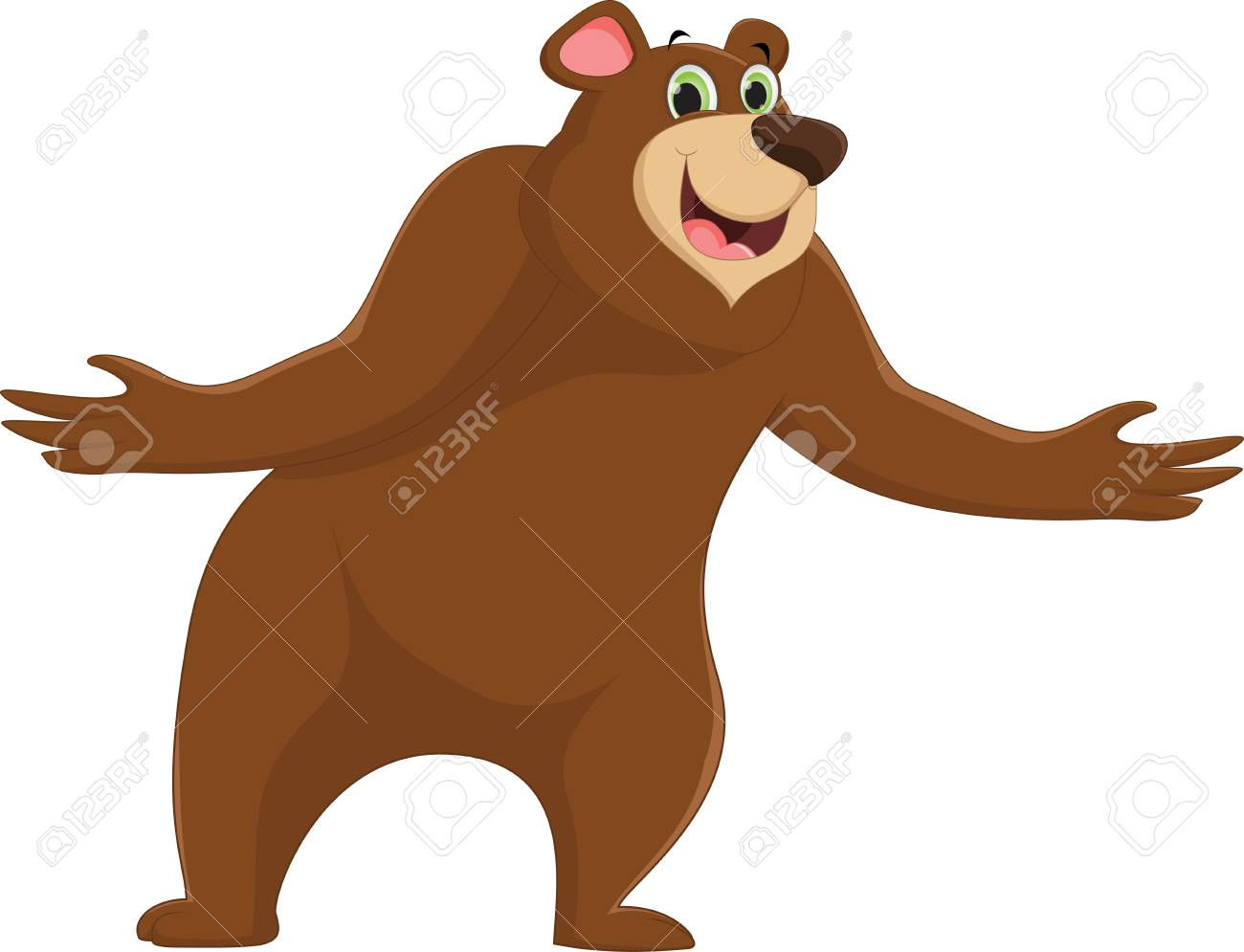 Cartoon happy brown bear waving hand.