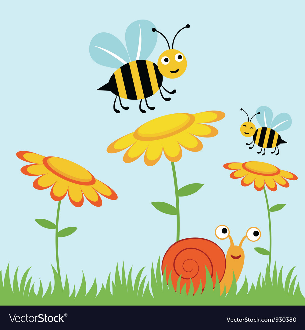 Happy bees and snail.