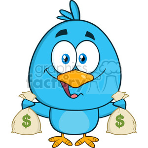 8834 Royalty Free RF Clipart Illustration Happy Blue Bird Cartoon Character  Holding A Bags Of Money Vector Illustration Isolated On White clipart..