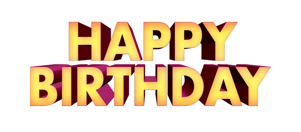 happy birthday png text 3D free downloads.