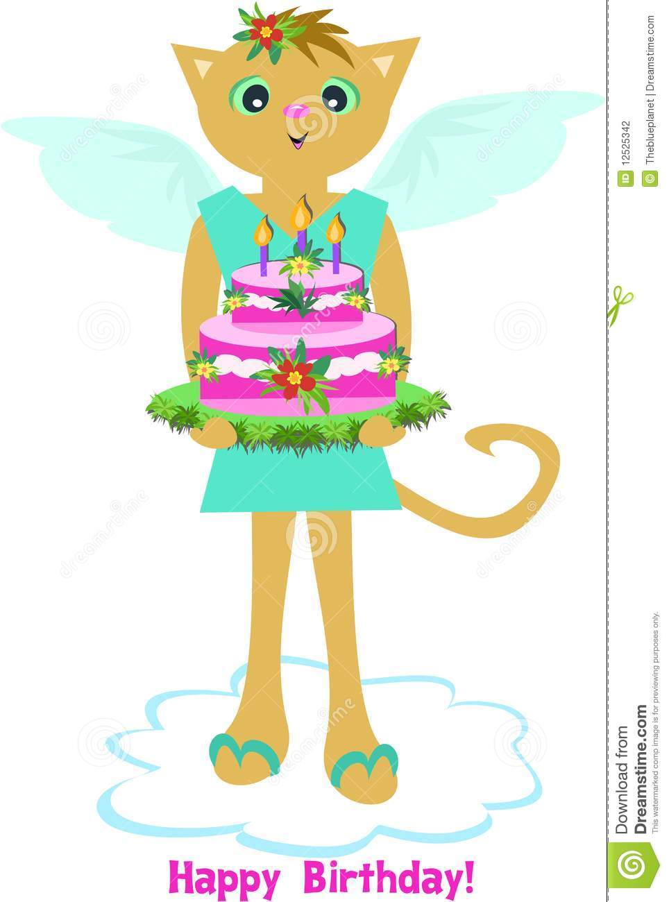 Happy Birthday Angel Cat With Cake Stock Photography.