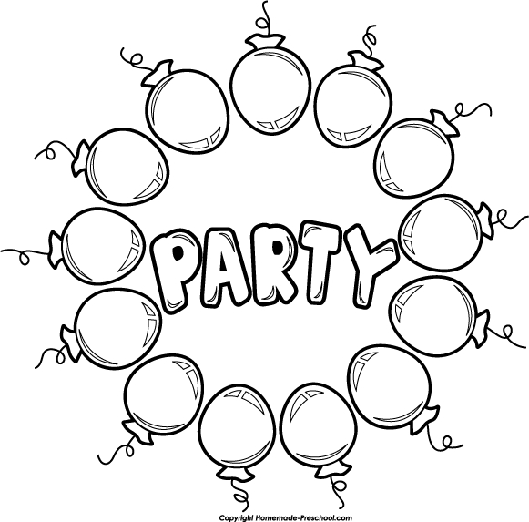 Birthday Balloons Black And White Party Clipart Kid