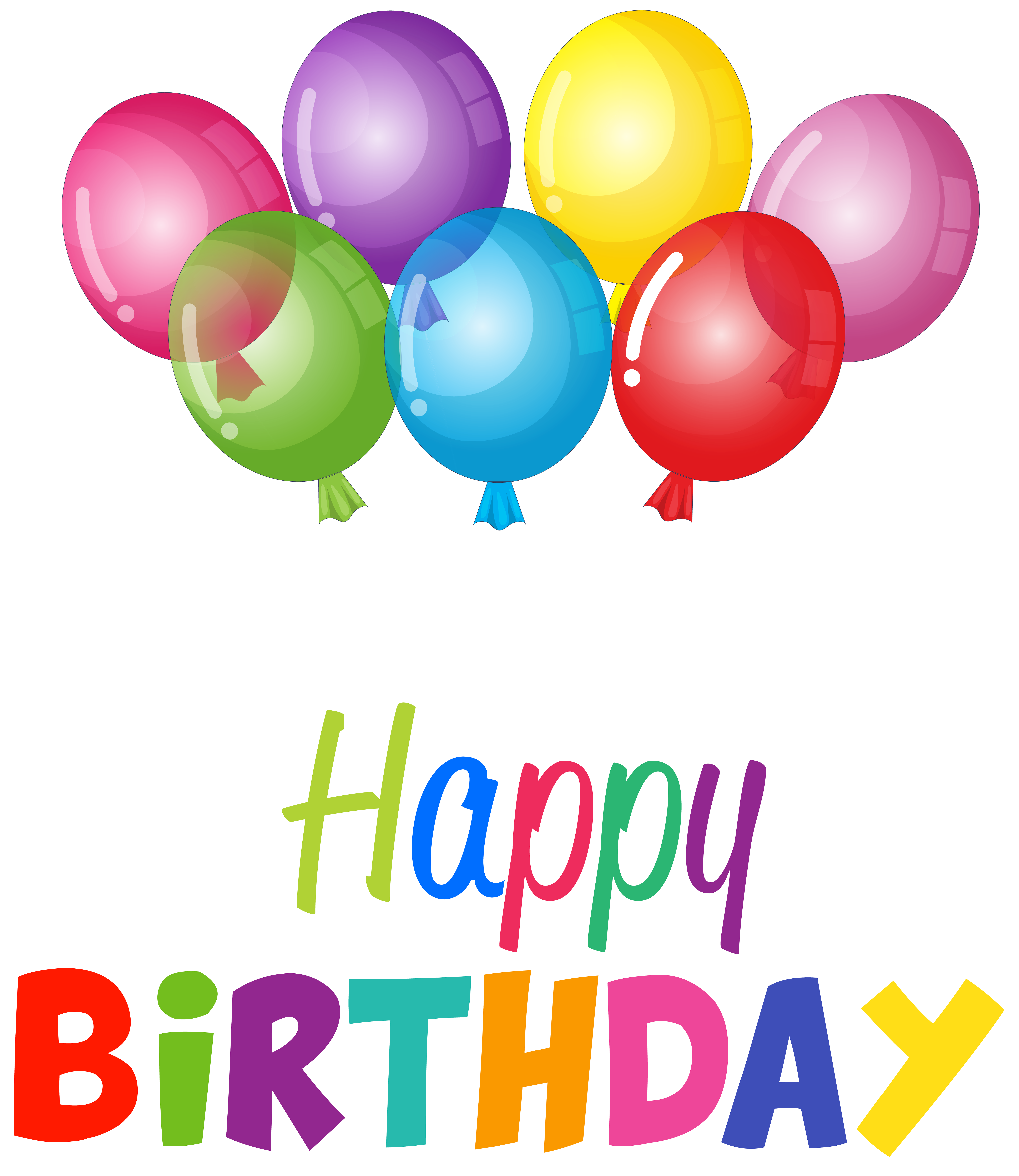 Happy Birthday Balloons Clip Art PNG Image.