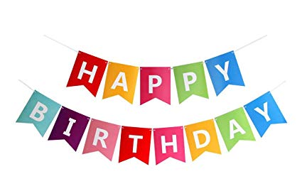FECEDY Colorful Happy Birthday Banner Bunting.