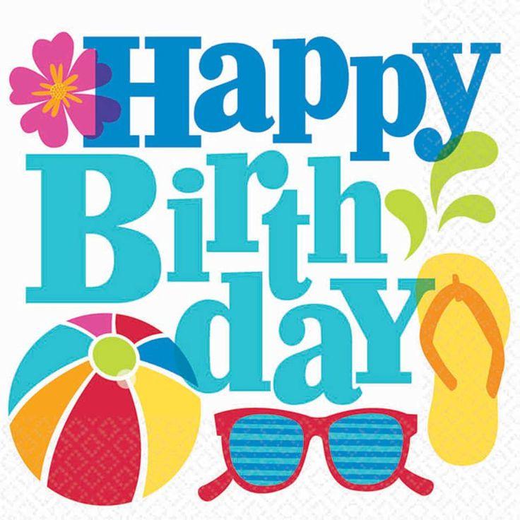 Happy Birthday, Summer, Beach, Fun, Colourful.