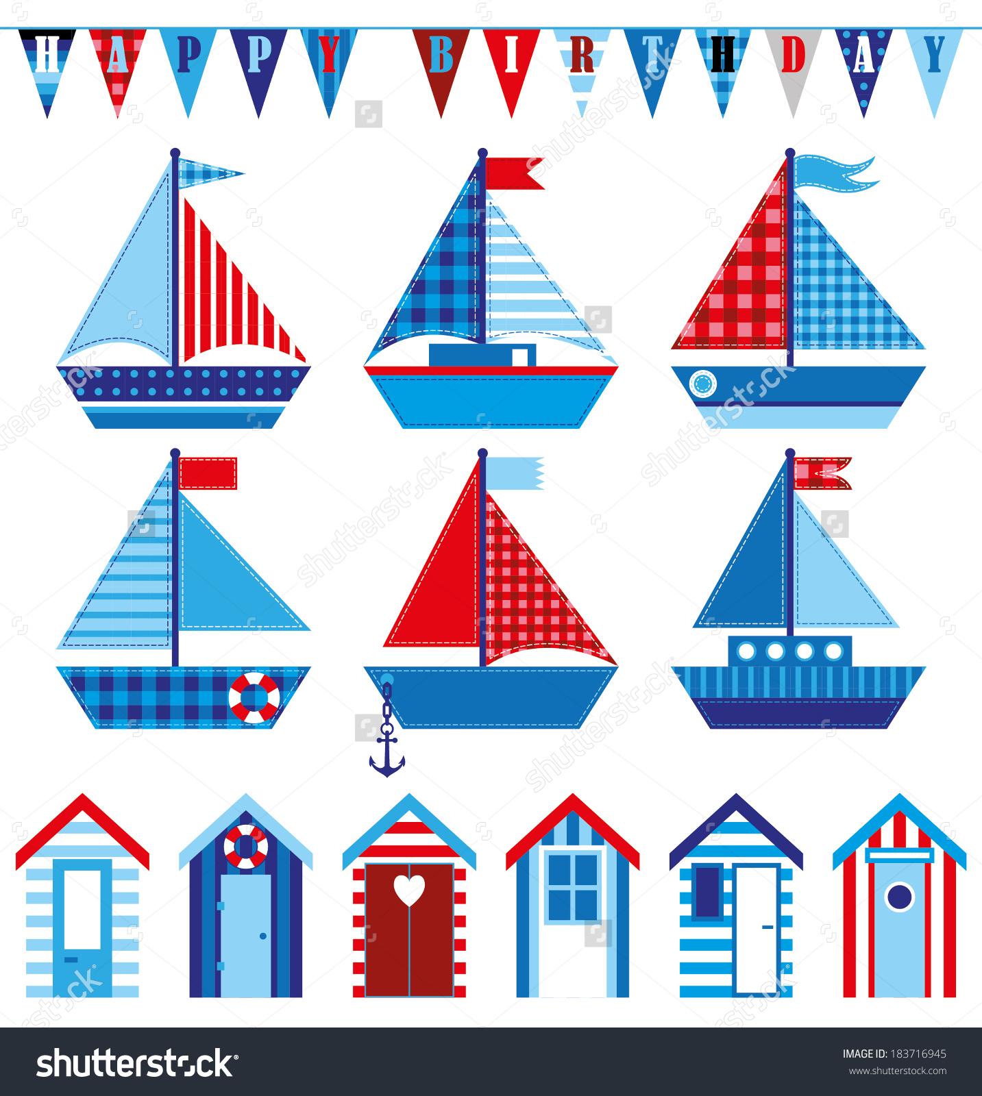 Happy Birthday Card Cute Babys Boats Stock Vector 183716945.