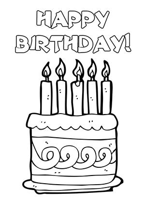 Happy birthday black and white clipart.