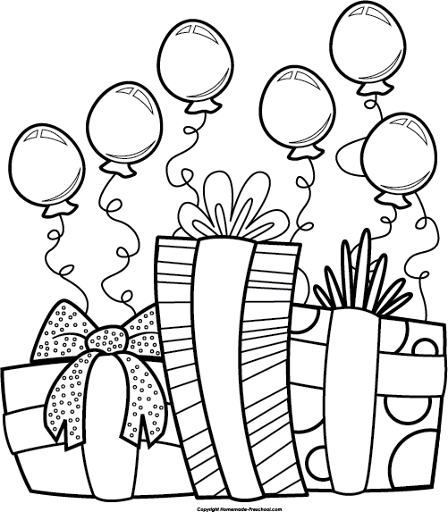Happy Birthday Balloon Clipart Black And White.