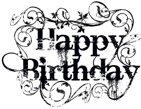 Happy birthday black and white clipart.