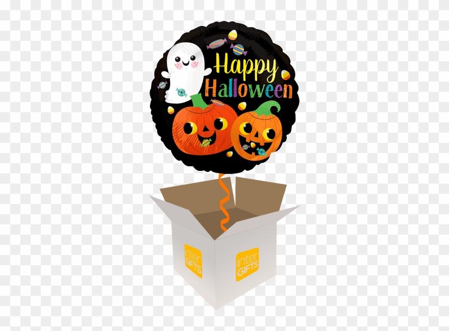 Happy Halloween Cute Ghost & Pumpkins.
