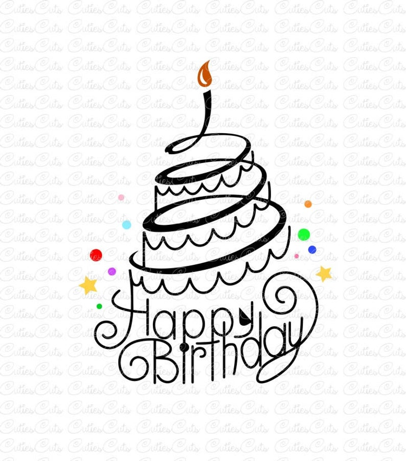 Happy Birthday Svg Dxf Png vector birthday cake clipart holiday svg cutting  file Silhouette Cricut birthday print design digital download.