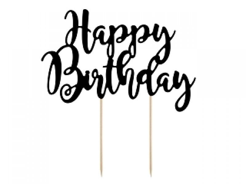 Black Happy Birthday Cake Topper.