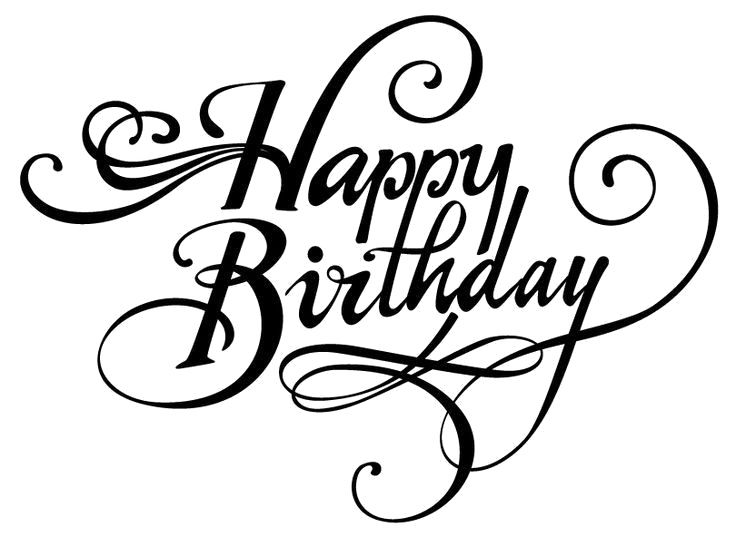 Happy Birthday Calligraphy Transparent PNG.