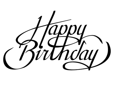 Download Happy Birthday Calligraphy Transparent PNG For Designing.