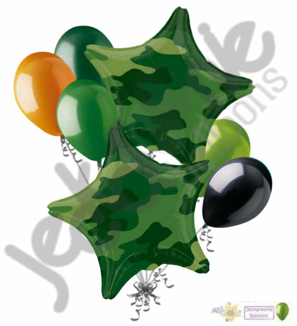 7pc Camo Stars Balloon Bouquet Army Marines Military Happy Birthday Welcome  Home.