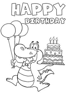 happy birthday clip art black and white 4.