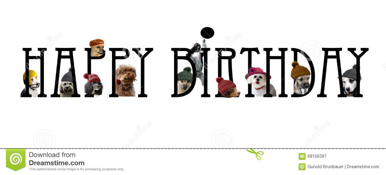 Happy Birthday Lettering With Dogs Stock Illustration.
