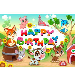 Dog and Other Farm Animals Happy Birthday.