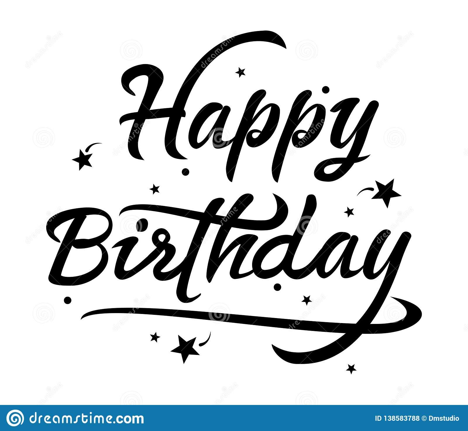 Vector Black And White Happy Birthday Text Stock Vector.