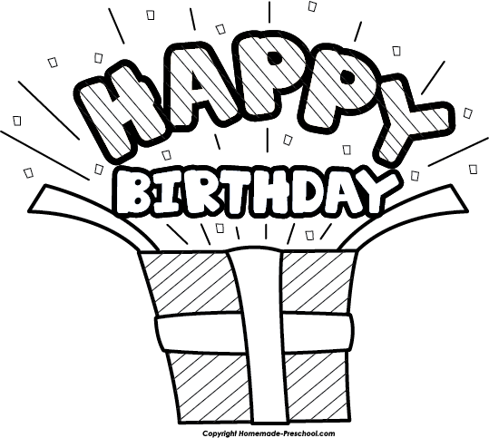 Happy birthday black and white clipart present black and white.