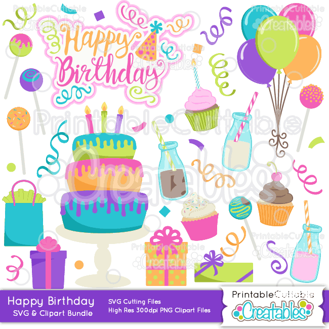 Happy Birthday SVG Cut Files & Clipart Bundle.