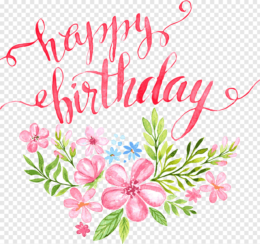 Birthday Calligraphy Greeting card Illustration, Flowers.