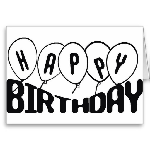 happy birthday clipart free black and white - Clipground