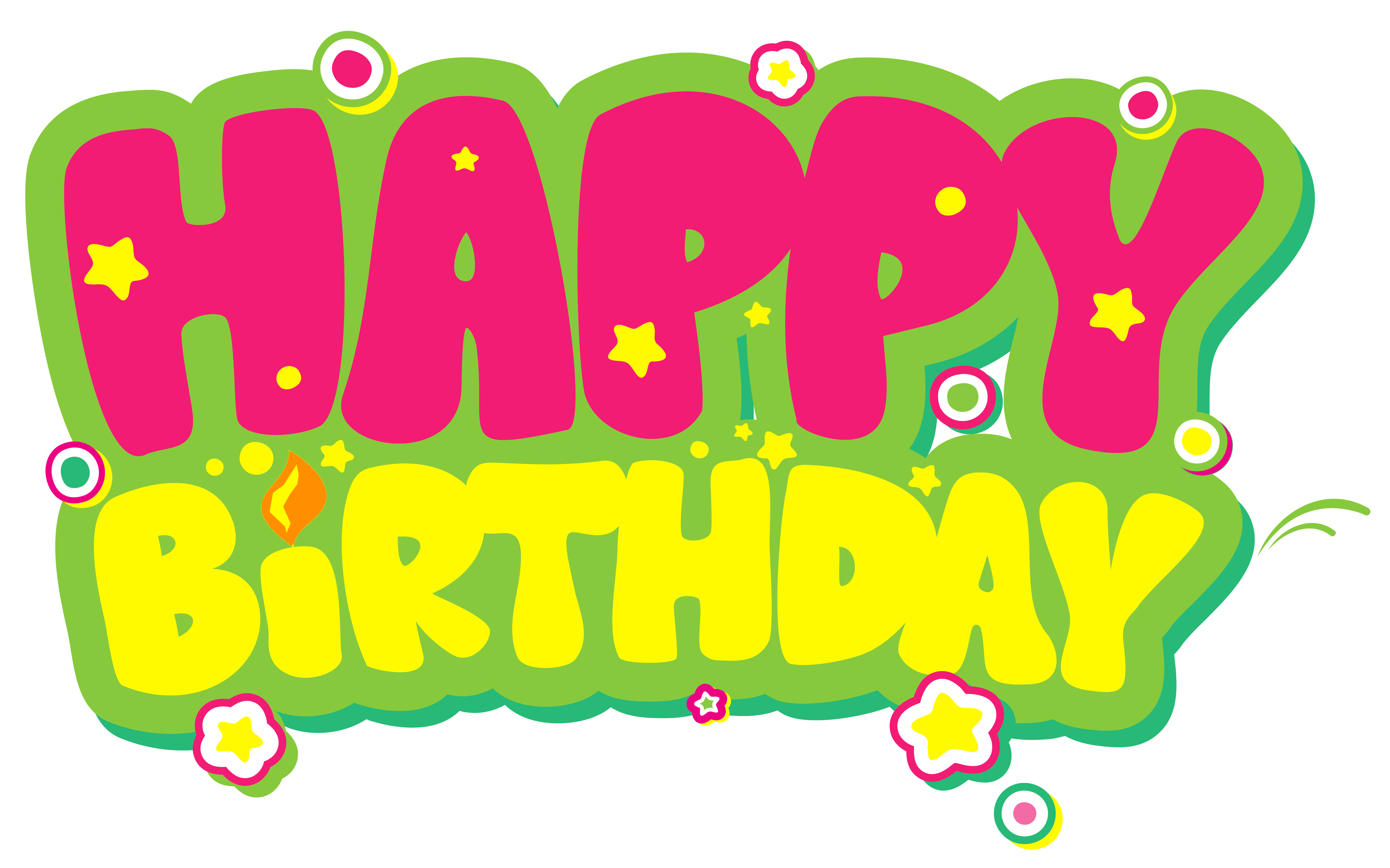 Yellow and Pink Happy Birthday PNG Clipart Picture.