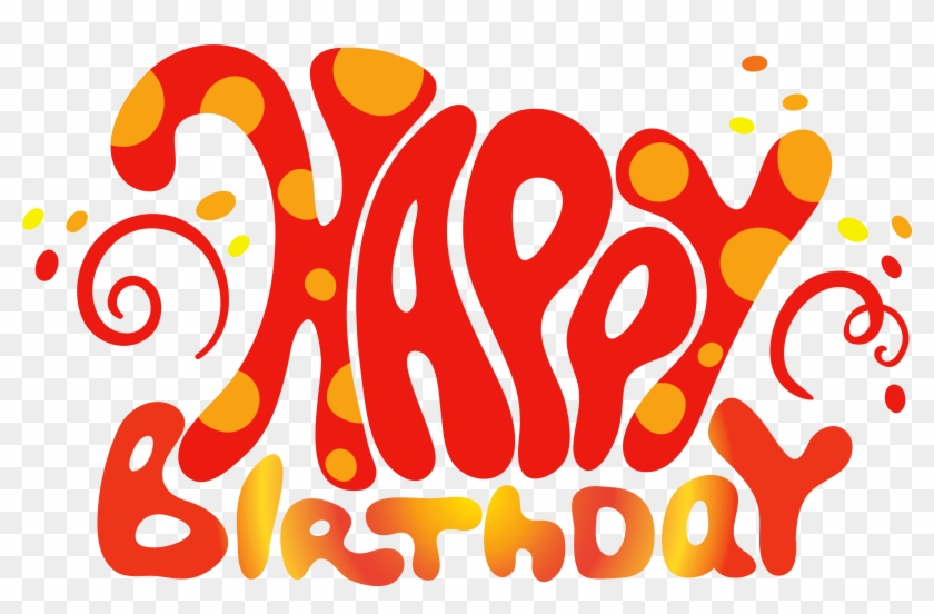 Red Cute Happy Birthday Text Png Clipart.