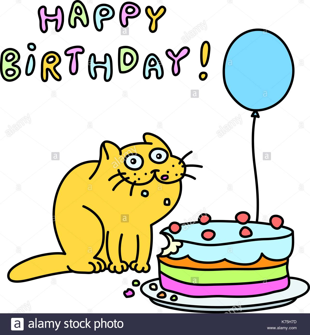Happy Birthday Cat Clipart.