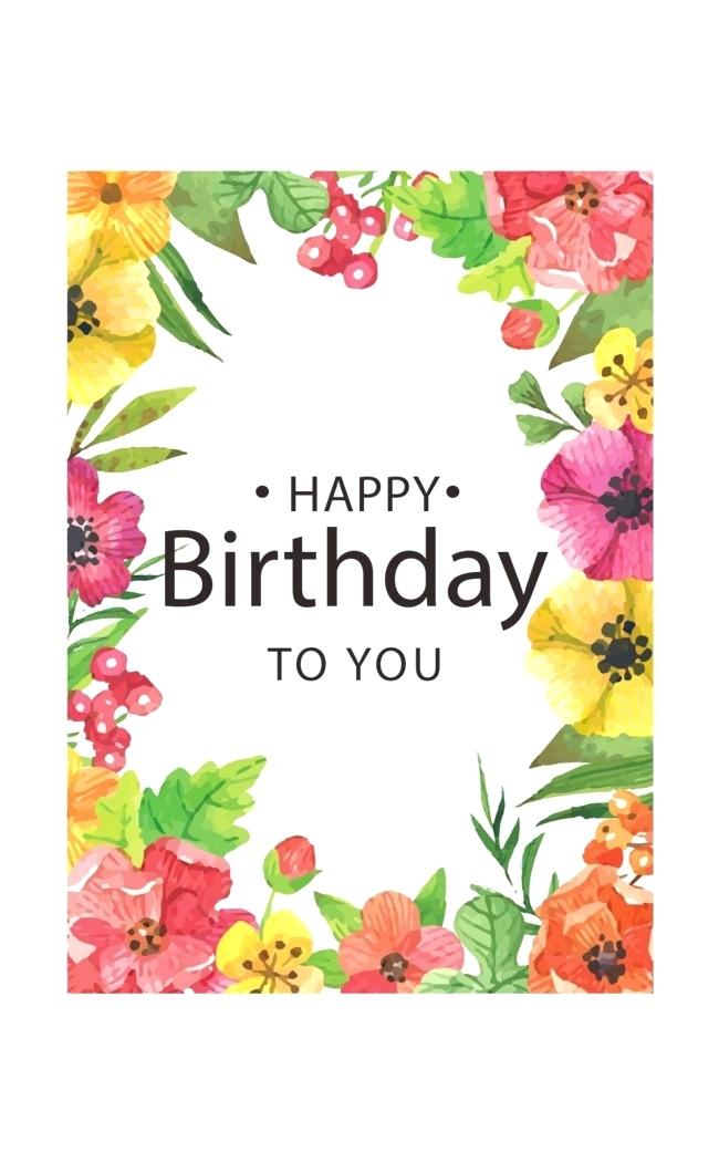 happy birthday with flowers clipart.