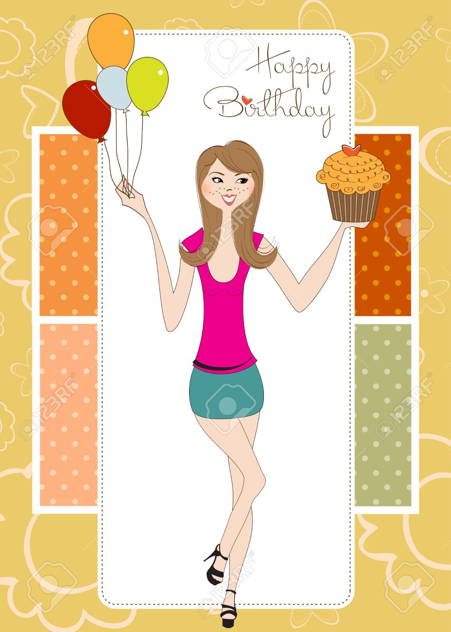 Happy Birthday Young Lady Clipart.