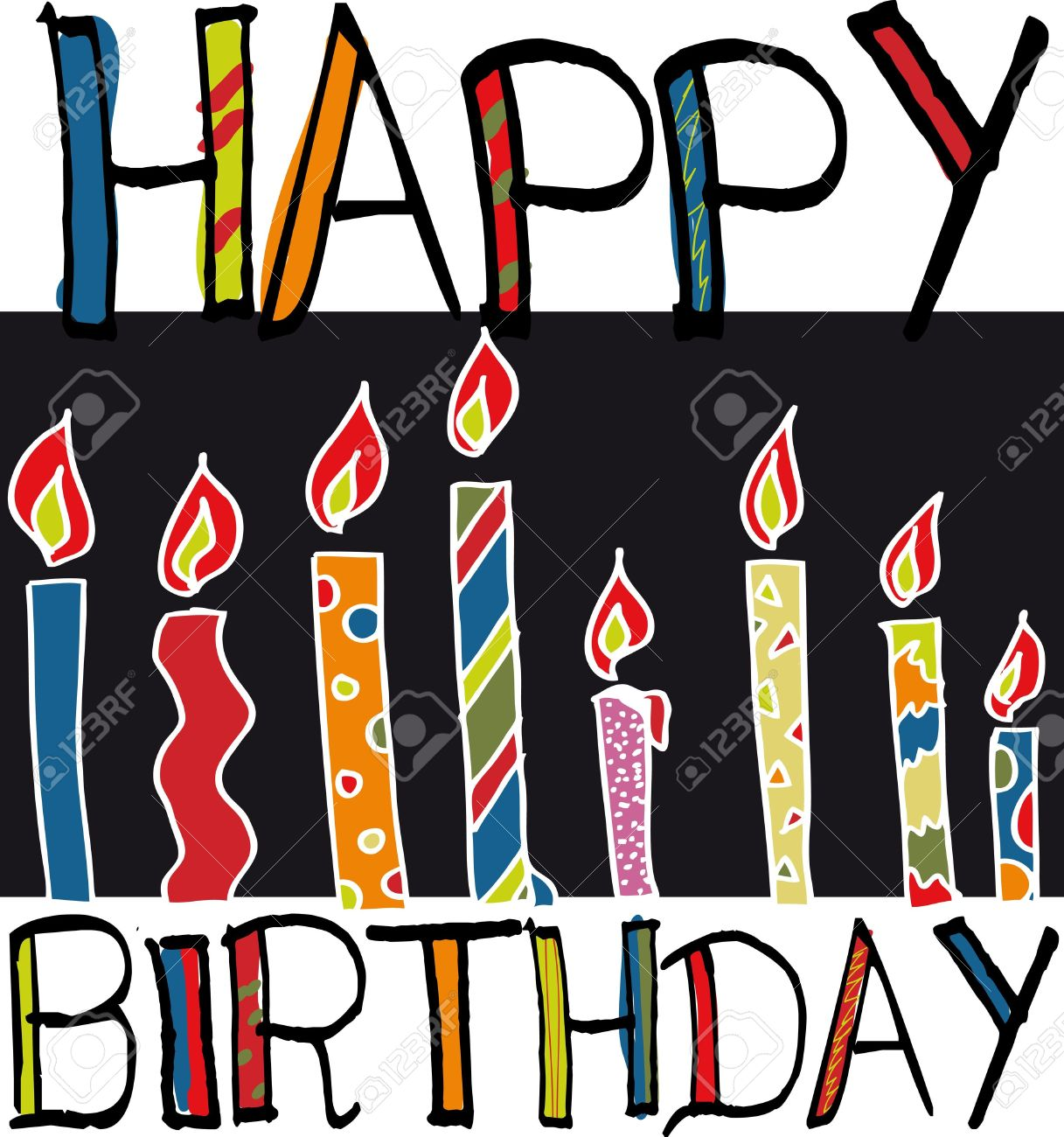 Happy Birthday Candles. Vector Illustration Royalty Free Cliparts.