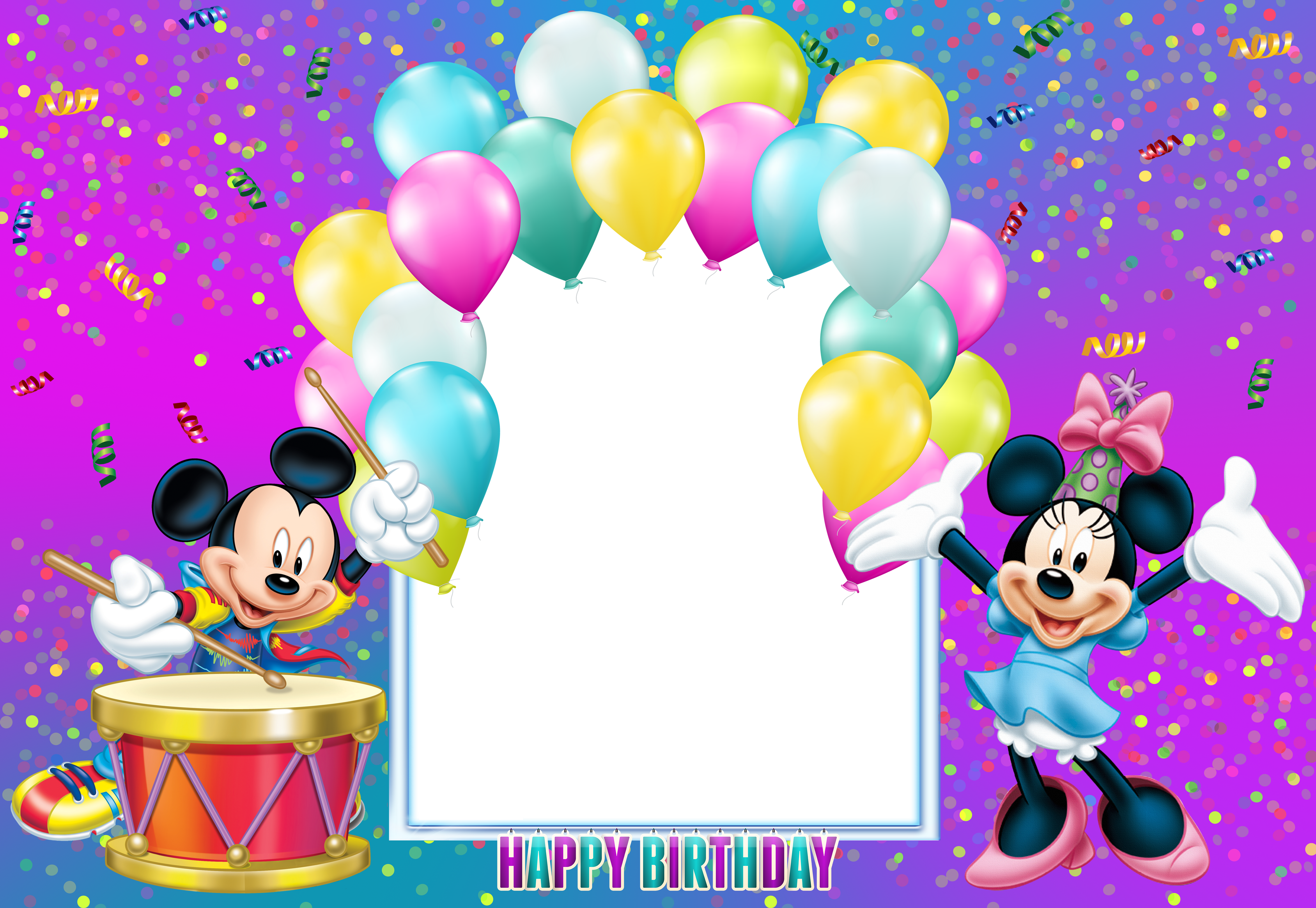 Happy Birthday Mickey Mouse Transparent Kids Frame.