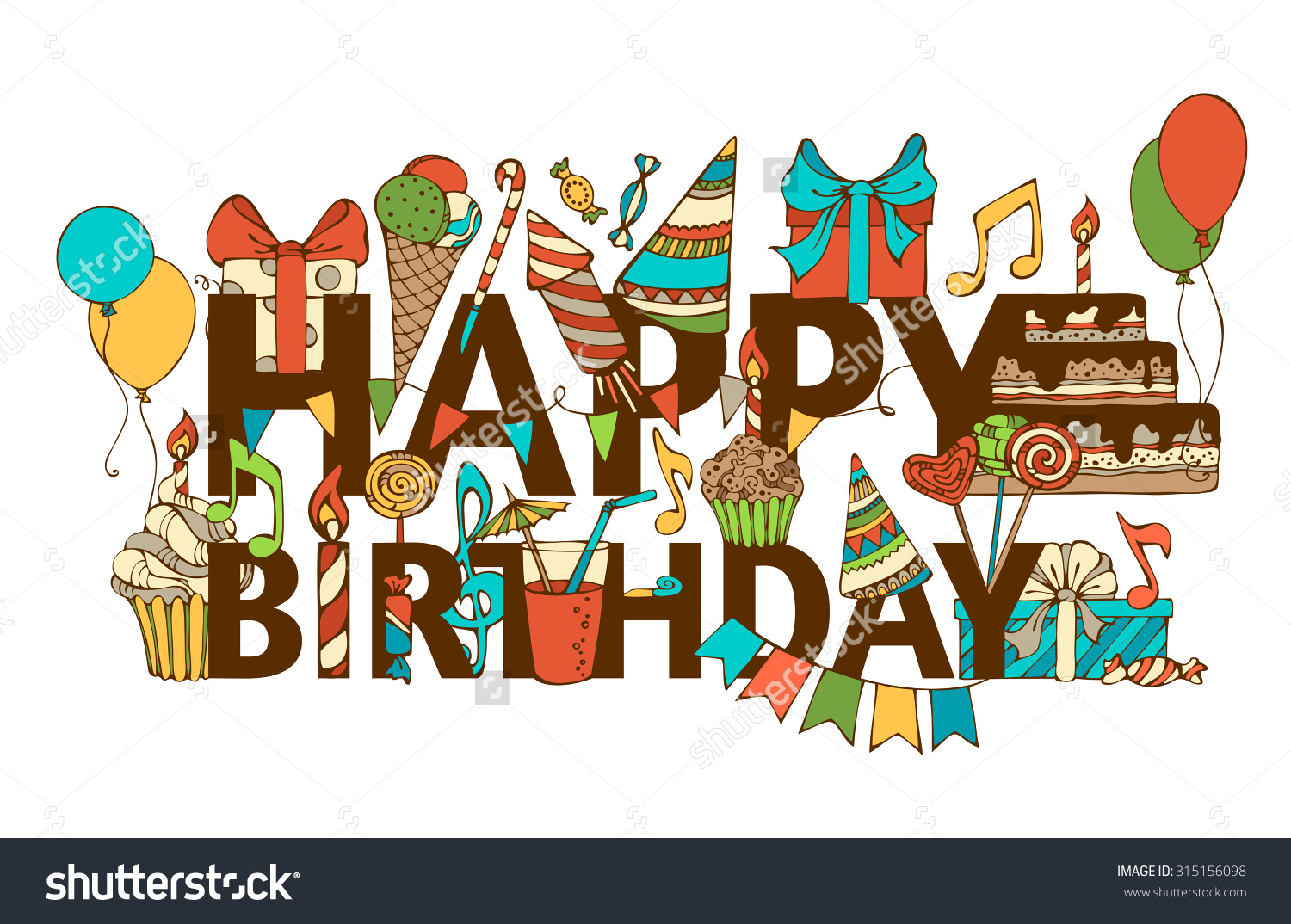 Handdrawn Happy Birthday Background Colourful Doodles Stock Vector.