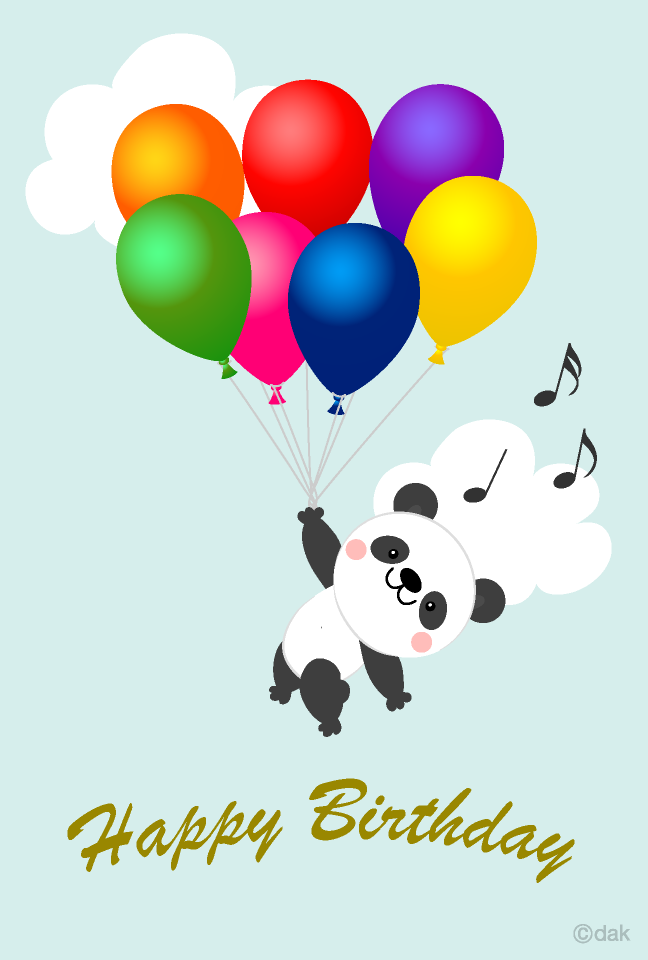 Free Happy birthday of a panda flying in the balloon Image.