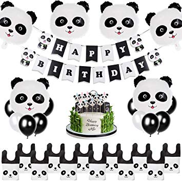Panda Party Supplies Birthday Decorations Panda Decorations Balloons for  Kids Happy Birthday Banner and Favor Bags Panda Bear Birthday Decor Bear.