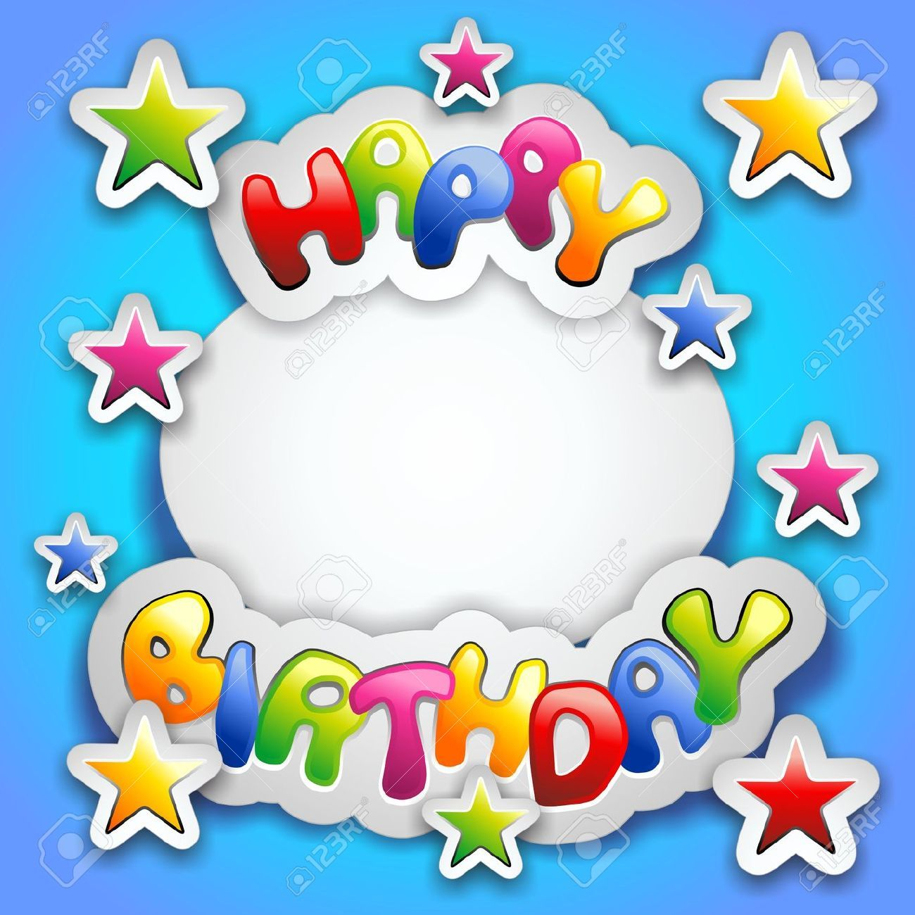 Happy Birthday Party Colorful Stickers Card.