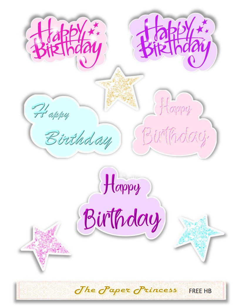 Happy Birthday Stickers SVG and PNG.