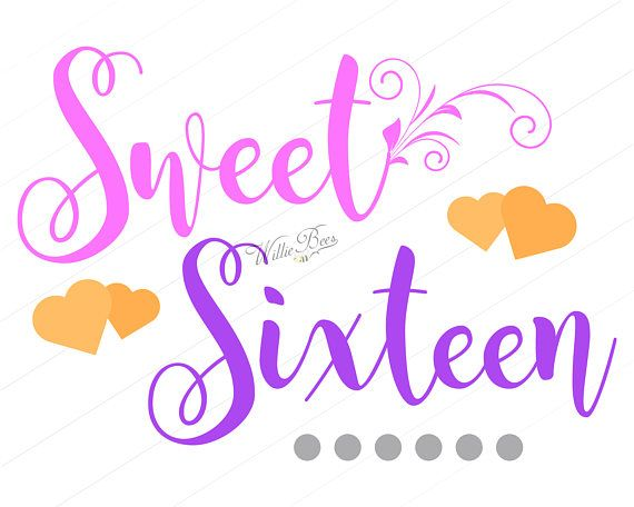 Sweet Sixteen, Birthday SVG, Happy Birthday, 16th Birthday.