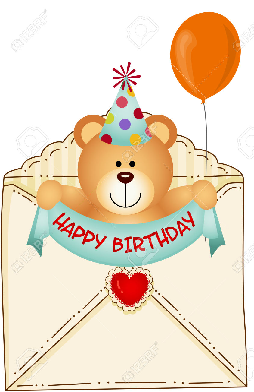 Teddy Bear In Happy Birthday Envelope Royalty Free Cliparts.