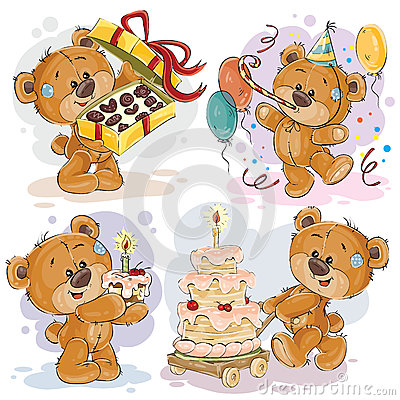 Clip Art Illustrations Of Teddy Bear Wishes You A Happy Birthday.