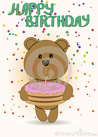 Funny Teddy Bear,happy Birthday Card Stock Photos.