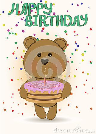 Funny Teddy Bear,happy Birthday Card Stock Photos.
