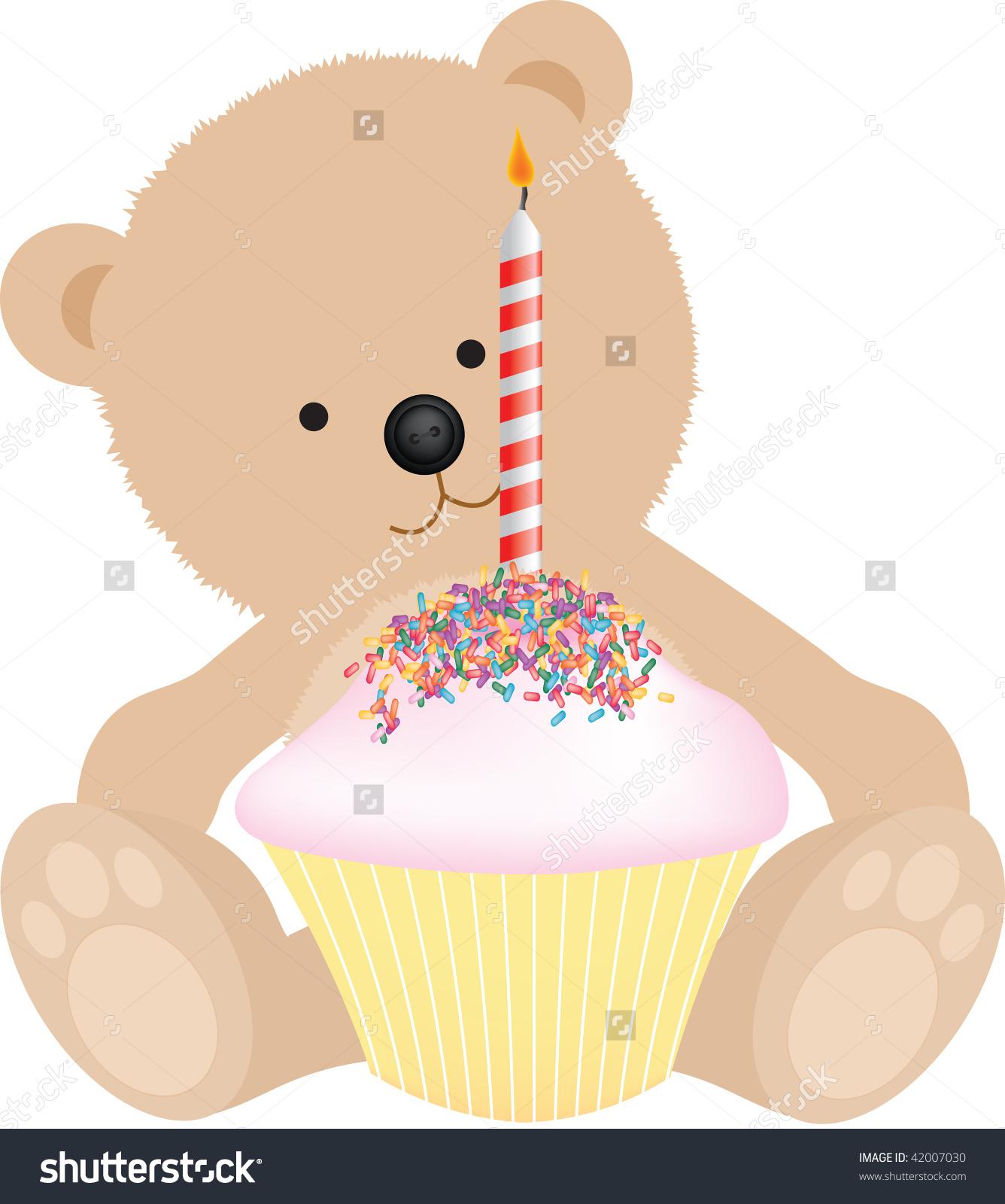 Happy Birthday Teddy Bear Birthday Cake Stock Illustration.
