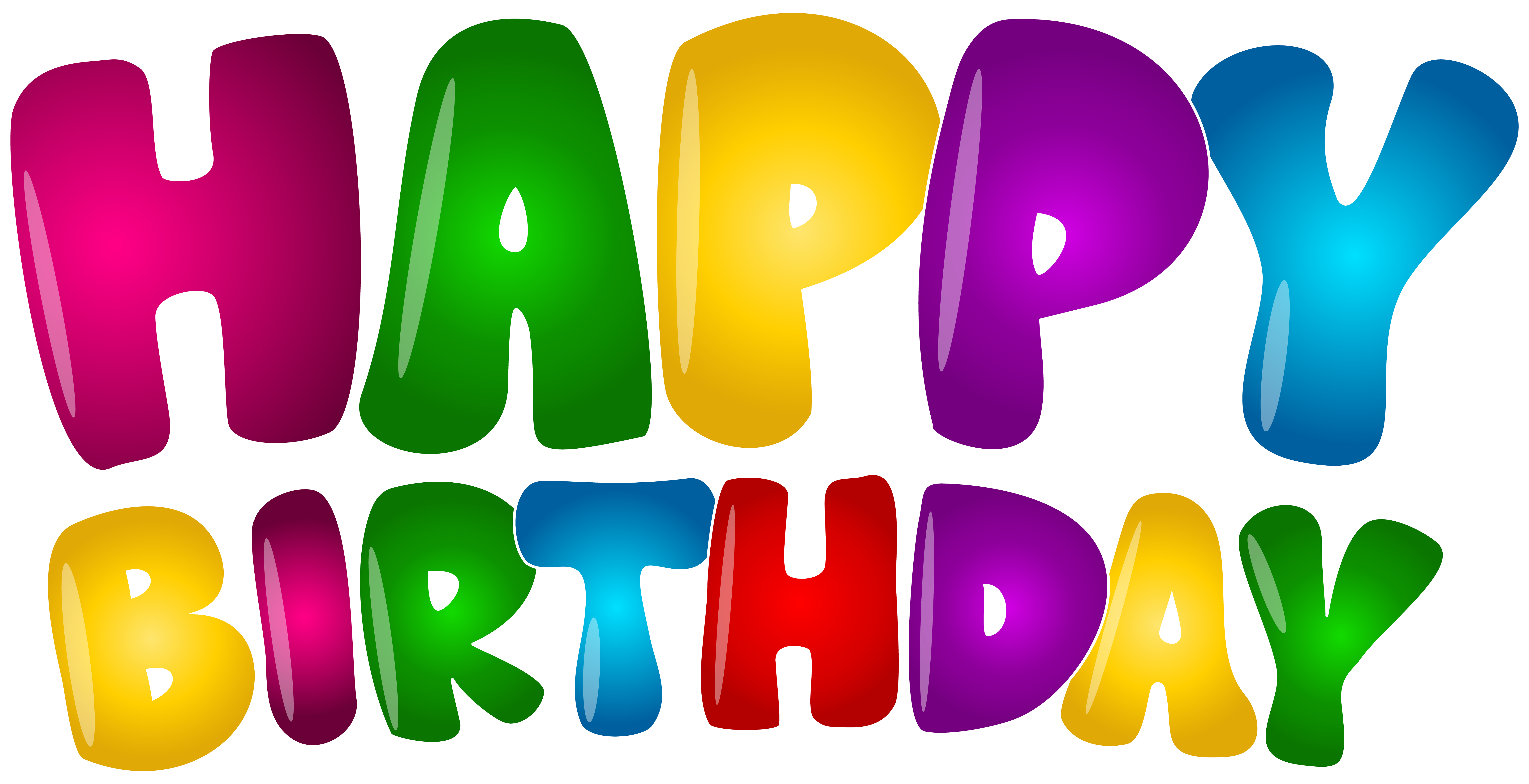 Happy Birthday Colorful Text PNG Clip Art.
